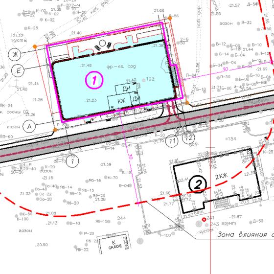 Схема расположения зданий в зоне влияния