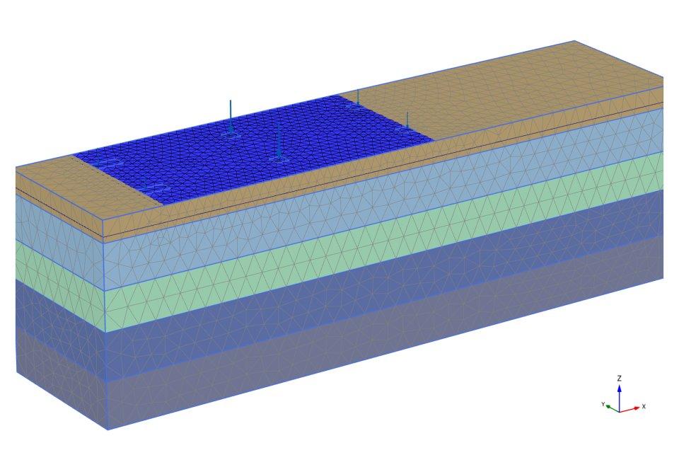 Расчетная схема Plaxis 3D